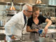 Chef Geoffrey Zakarian and guest Minka Kelly prepare ingredients for  the Bittersweet Chocolate Molten Souffle in the kitchen at Georgie,  as seen on Cooking Channel's Star Plates, Season 1