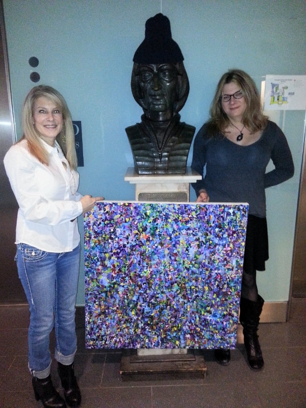 Lisa-Beth Older-(Left)-and-Dr.-Rebecca Oppenheimer-in-front-of-a-bust-of-Copernicus-with-My-Inner-Cosmos-credit-Janne-Ohrn