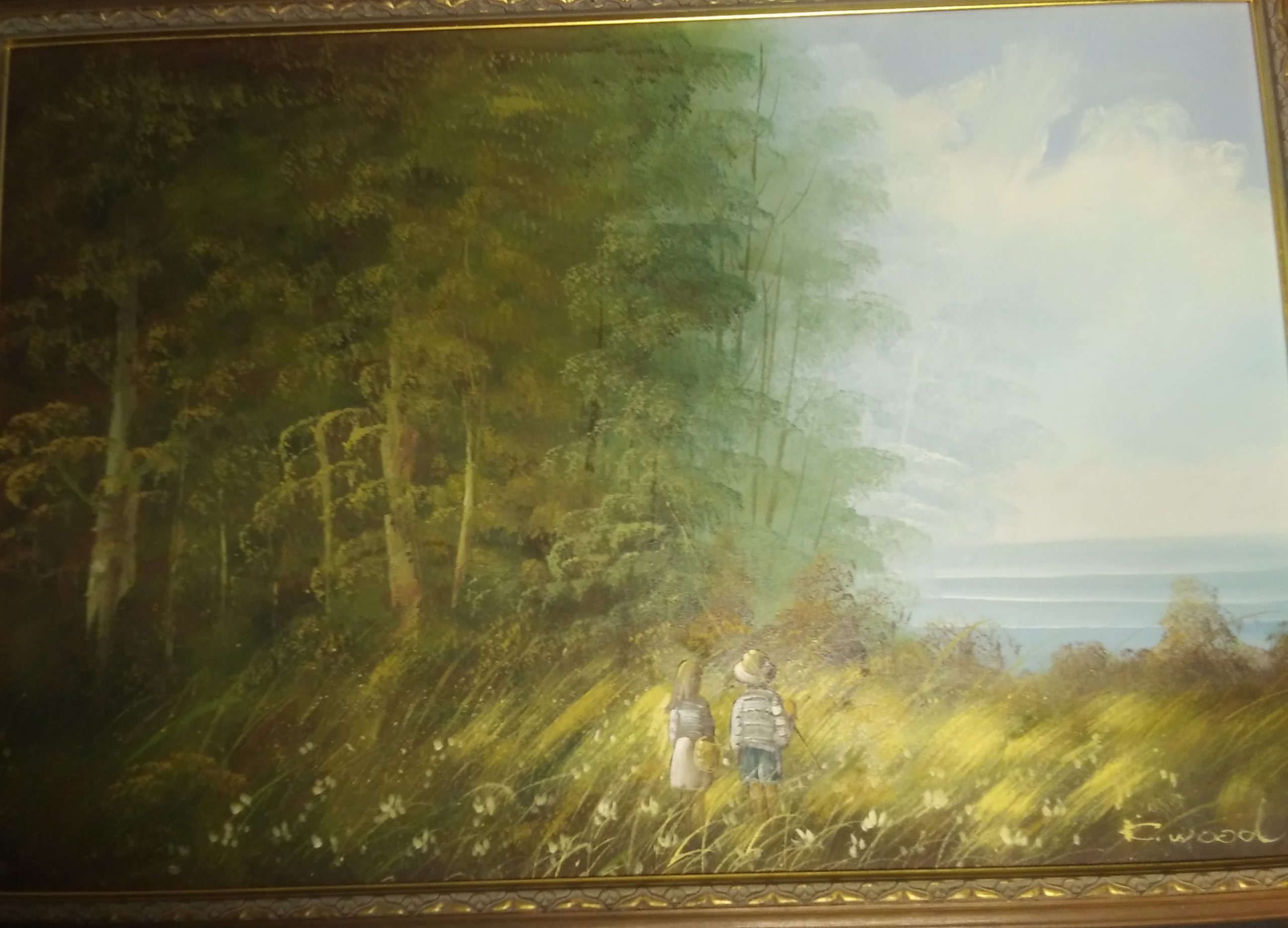 Children in Meadow Painting