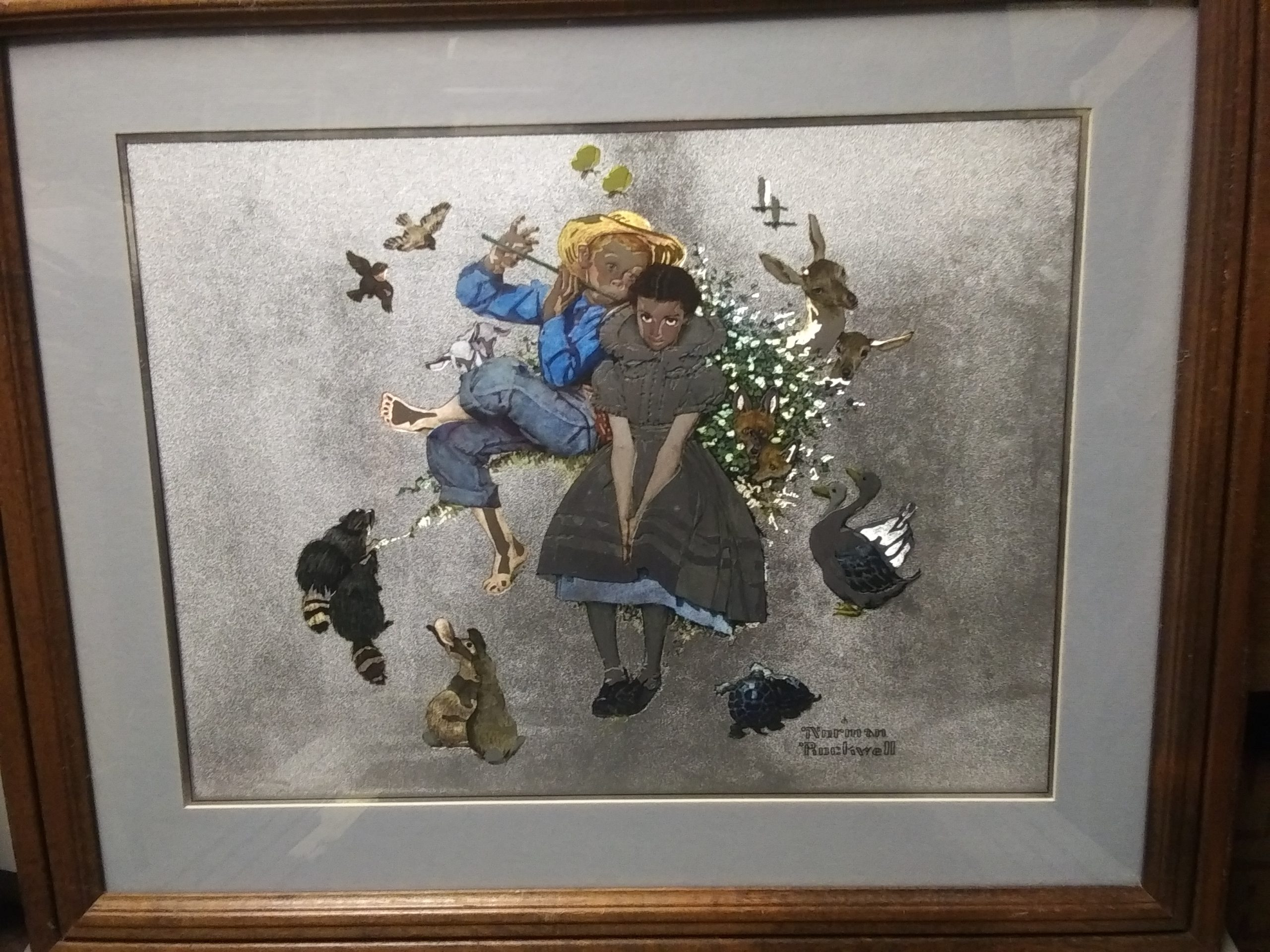 Norman Rockwell's Barefoot Boy Playing Flute: Framed Print